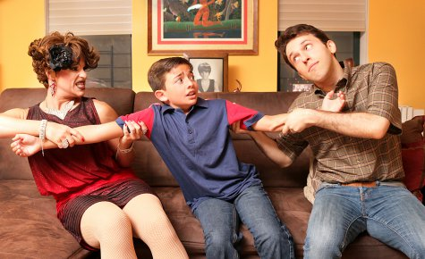 "Shua Potter, Alex Ammerman and Matt Koplik in a scene from ""Daddy Issues"" (Photo credit: Stephen M. Cyr)"