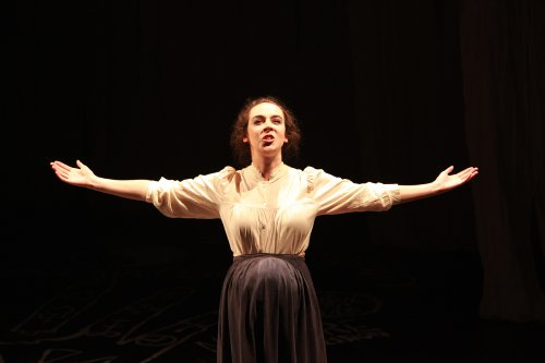 "Jane Bradley as Mary Shelley in a scene from ""Phantasmagoria; or, Let Us Seek Death!"" (Photo credit: Theo Cote)"