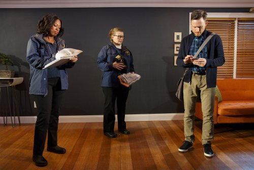 "Marinda Anderson, Lynne McCollough and Brad Heberlee in a scene from Adam Bock's ""A Life"" (Photo credit: Joan Marcus)"