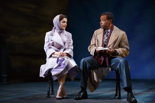 """Rachel Weisz and LeRoy McClain in a scene from The Public Theater's revival David Hare's """"Plenty"""" (Photo credit: Joan Marcus)"""