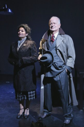 "Elise Stone and Craig Smith in as scene from ""The Resistible Rise of Arturo Ui"" (Photo credit: Gerry Goodstein)"