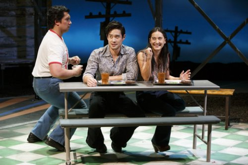 "Jon Hoche, Raymond Lee and Jennifer Ikeda in a scene from ""Vietgone"" (Photo credit: Carol Rosegg)"