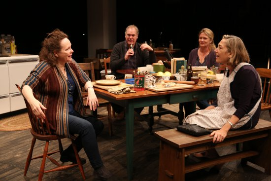 "Maryann Plunkett, Jay O. Sanders, Amy Warren and Meg Gibson in a scene from Richard Nelson's ""Women of a Certain Age,"" Play 3 of ""The Gabriels: Election Year in the Life of One Family"" (Photo credit: Joan Marcus)"