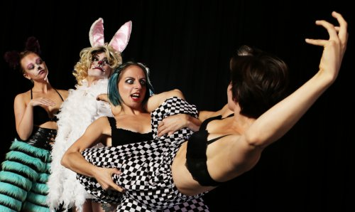 """Dara Swisher, Arrie Fae Bronson-Davidson, Meghann Bronson-Davidson and Brittany Posas in a scene from """"Wonder/Through the Looking Glass Houses"""" (Photo credit: Peter Yesley)"""