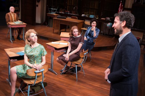 "Frank Wood, Maddie Corman, Julie Halston, Randy Graff and Josh Radnor in a scene from ""The Babylon Line (Photo credit: Jeremy Daniel)"