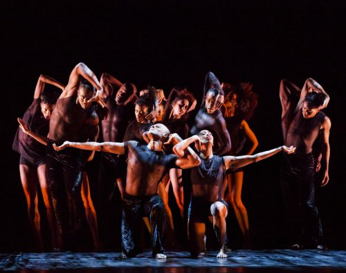 "A scene from the Alvin Ailey American Dance Theater's production of Mauro Bigonzetti's ""Deep (Photo credit: Paul Kolnik)"