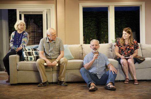 """Julia Duffy, Mark Blum, Mark Zeisler and Mare Winningham in a scene from """"Rancho Viejo"""" (Photo credit: Joan Marcus)"""