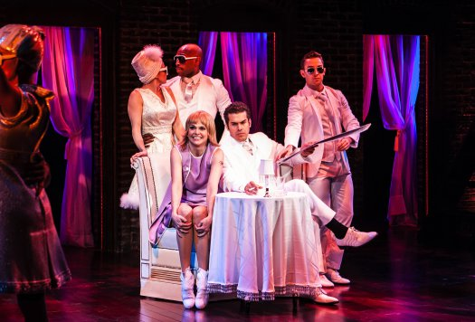 """Emily Padgett, Donald Jones, Jr., Sutton Foster, Joel Perez and Cody Willliams in the Pompei Club scene in The New Group's revival of """"Sweet Charity"""" (Photo credit: Monique Carboni)"""
