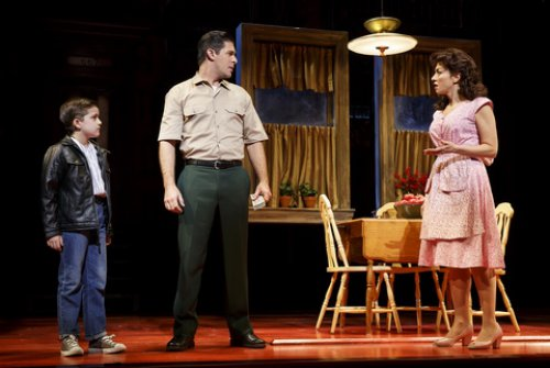 "Hudson Loverro, Robert H. Blake and Lucia Giannetta in a scene from ""A Bronx Tale"" (Photo credit: Joan Marcus)"