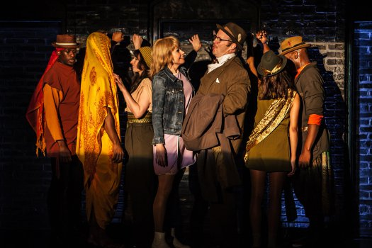 "Sutton Foster, Shuler Hensley and cast in the subway scene from The New Group's revival of ""Sweet Charity"" (Photo credit: Monique Carboni)"
