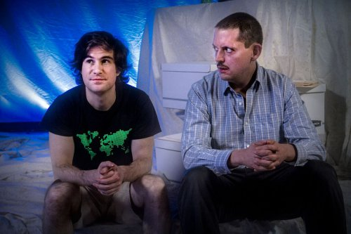 """Matt Steiner and E. James Ford in a scene from """"Private Manning Goes to Washington"""" (Photo credit: Jan Wandrag)"""