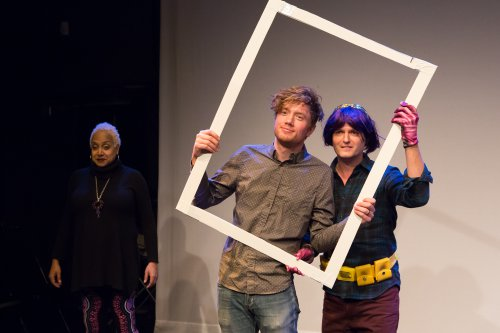 "Nicole Hill, Connor Sampson and Dan McCoy in a scene from ""The Great American Drama"" (Photo credit: Hunter Canning)"