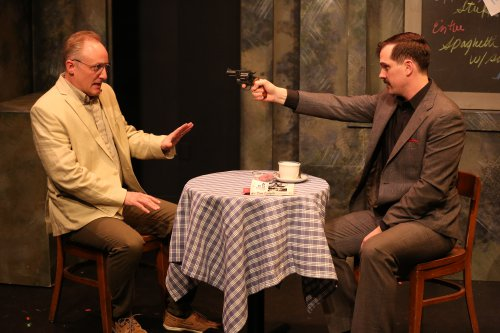 "Eric Dean White and Justin Ivan Brown in a scene from Adam Seidel""s ""American Outlaws"" (Photo credit: Carol Rosegg)"