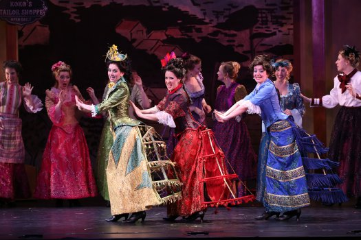 "Sarah Caldwell Smith, Amy Maude Helfer and Alexandra Haines as the ""Three Little Maids from School"" in a scene from New York Gilbert & Sullivan Players' new production of ""The Mikado"" (Photo credit: Carol Rosegg)"