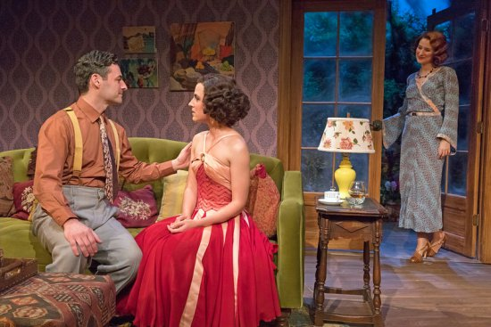 "Max von Essen, Mikaela Izquierdo and Elisabeth Gray in a scene from the Mint Theater's premiere of ""Yours Unfaithfully"" (Photo credit: Richard Termine)"