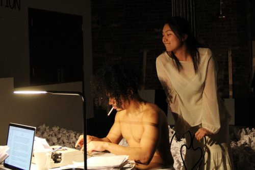 "John Gutierrez and Yeena Sung in a scene from Robert Patrick's ""Hi-Fi 