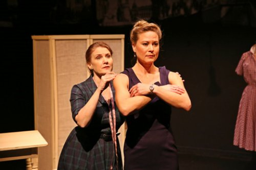 "Tracy Sallows and Caralyn Kozlowski in a scene from ""The Dressmaker's Secret"" (Photo credit: Carol Rosegg)"