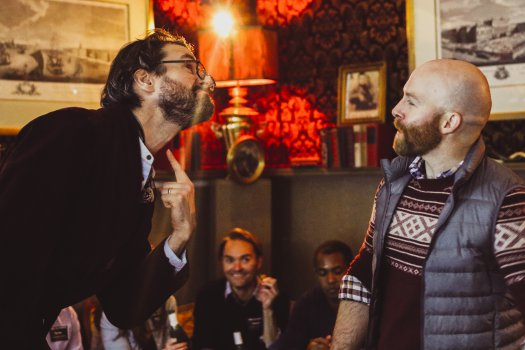 "Sean Tarrant and Joel Rainwater in a scene from ""Drunkle Vanya"" at Tolstoy's Lounge at the Russian Samovar (Photo credit:  Britannie Bond)"