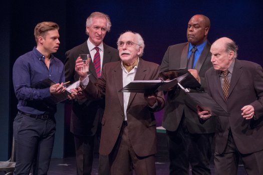 "Hunter Ryan Herdlicka, Peter Land, Gordon Stanley, J. Bernard Calloway and Stephen Mo Hanan in a scene from Jerry Herman's ""Dear World"" (Photo credit: Ben Strothmann)"