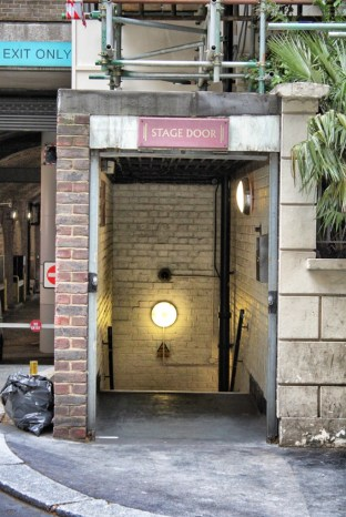 The stage door for the Playhouse Theatre in London