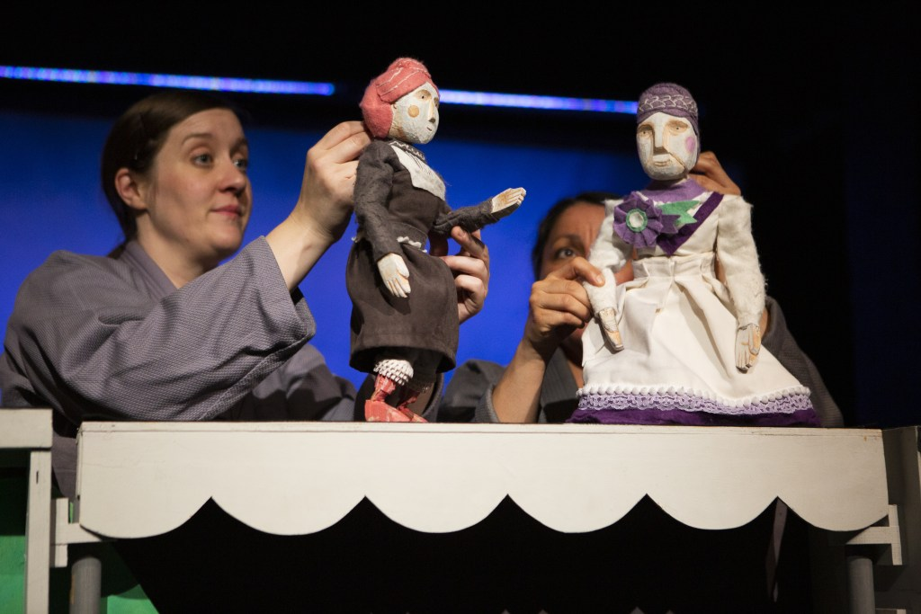 Gemma Khawaja and Alice Rowbottom in Suffrajitsu at the Little Angel Theatre.