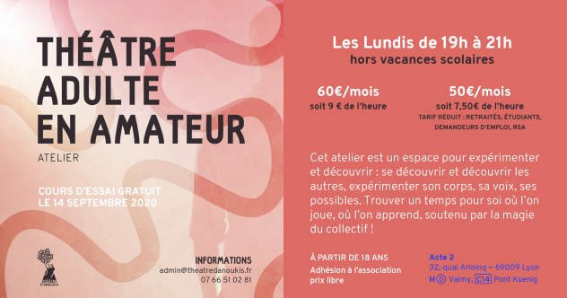 flyer-cours theatre amateurs 2019-2020 lyon