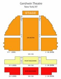 George gershwin theatre seating chart also in new york rh theatreinnewyork