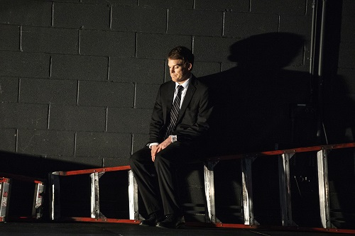 """89d8f9559 Photo: Michael C. Hall in """"Thom Pain (based on nothing)."""" Credit: Joan  Marcus."""
