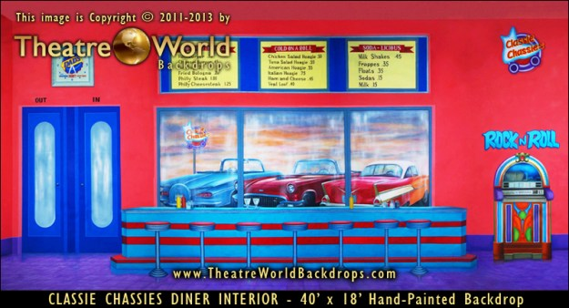 Classie Chassies Diner Interior Professional Scenic Backdrop