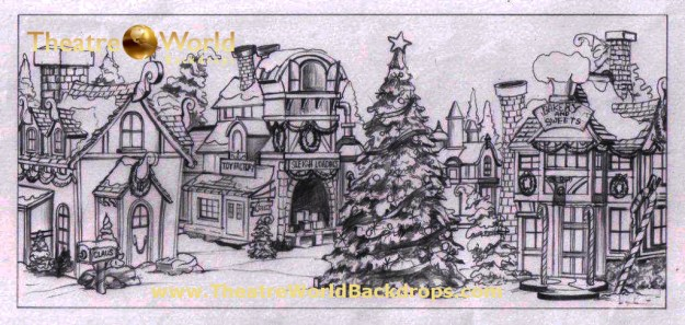 Santa's Village Professional Scenic Backdrop Concept Sketch