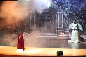 Student Performer as Christine in Park Hill South's Phantom of the Opera with Professional Daae's Cemetery Scenic Backdrop