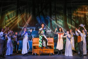 West Potomac High Performers in Spamalot with TheatreWorld's Dark and Extremely Expensive Forest Professional Scenic Backdrop