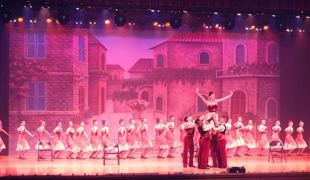 Professional Scenic Backdrop Mediterranean Courtyard Charlene's School of Dance