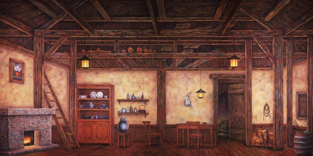 Professional Cinderella Old World Cottage Interior Scenic Backdrop