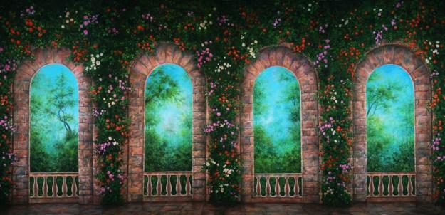 Professional Cinderella Rose Terrace Scenic Backdrop