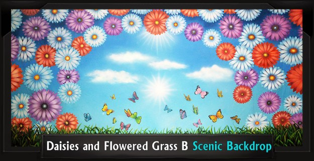 DAISIES AND FLOWERED GRASS B Professional Scenic Shrek Backdrop