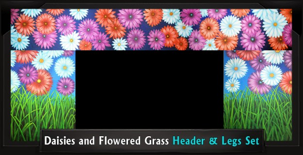 DAISIES AND FLOWERED GRASS Professional Scenic Header and Legs Set, Shrek