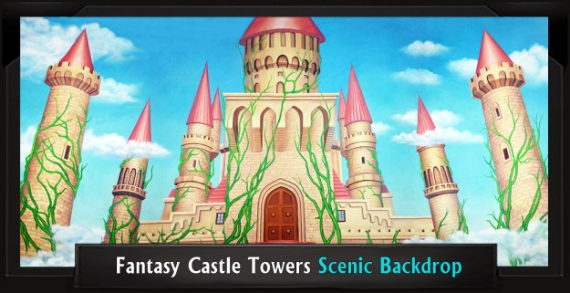 FANTASY CASTLE TOWERS Professional Scenic Shrek Backdrop