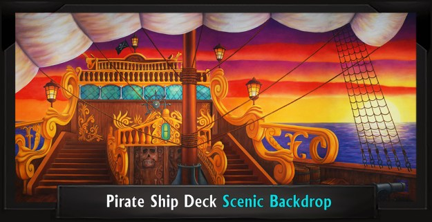 Pirate Ship Deck Professional Scenic Little Mermaid Backdrop