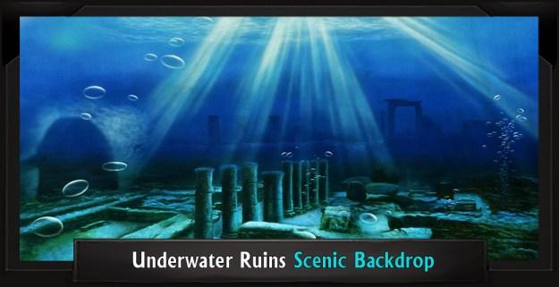 Underwater Ruins Professional Scenic Little Mermaid Backdrop