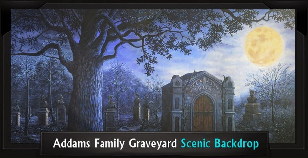 Addams Family Graveyard Professional Scenic Backdrop