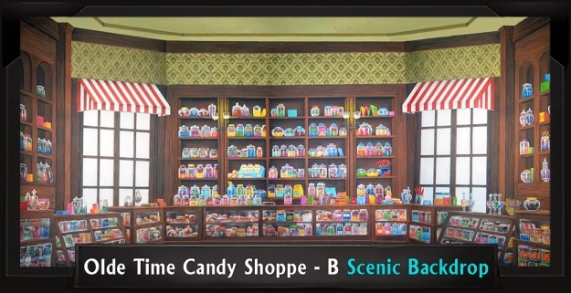 Olde Time Candy Shoppe B Professional Scenic Mary Poppins Backdrop