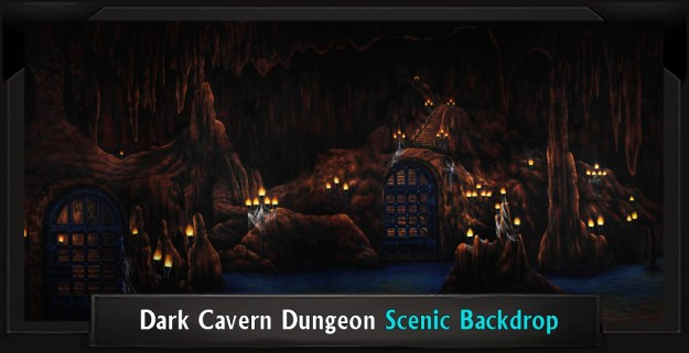Dark Cavern Dungeon Professional Scenic Addams Family Backdrop