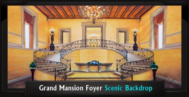 Grand Mansion Foyer Professional Scenic Mary Poppins Backdrop