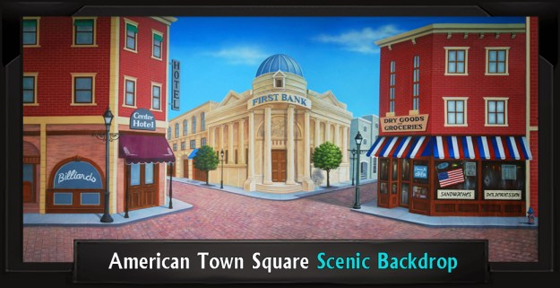 American Town Square Professional Scenic Grease Backdrop