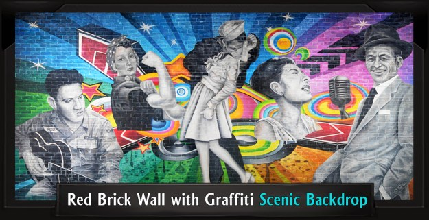 Professional Scenic Grease Backdrop Red Brick Wall with Graffiti