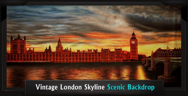 Vintage London Skyline Professional Scenic Peter Pan Backdrop