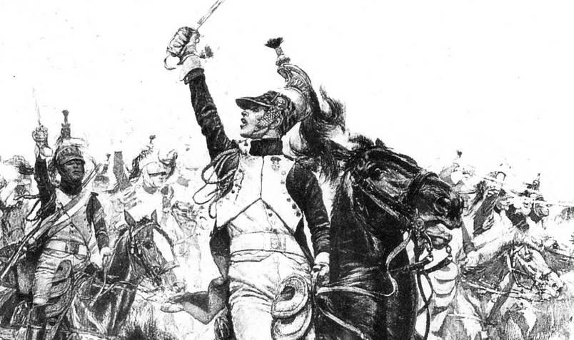 Charge des dragons de l'Impératrice à Saint-Dizier, le 26 mars 1814. Détail de la peinture d'Édouard Detaille.