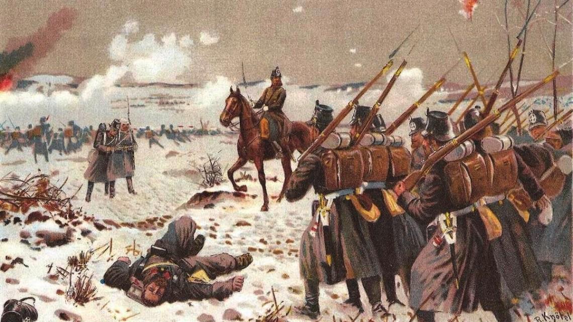 Bataille de Lizaine. Landwehr prussienne. (1871).