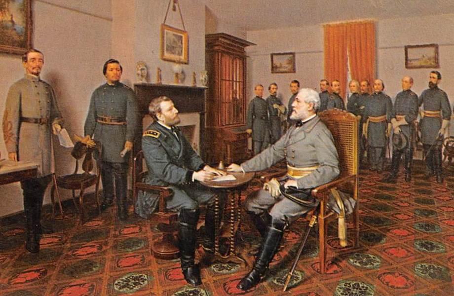 9 avril 1865 : reddition sudiste (Appomattox – Virginie –Etats-Unis). Le général Robert Lee (Etats confédérés) signe l'acte de reddition que lui présente le général Ulysses Grant (Etats de l'Union). C'est la fin de la guerre de Sécession.